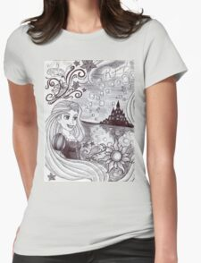 Monochrome Princess R Womens Fitted T-Shirt