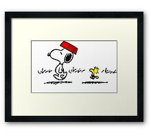 Funny Snoopy And Woodstock Framed Print