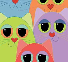 CAT FACES FIVE by Jean Gregory  Evans