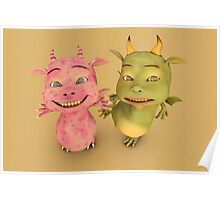 Cute Baby Dragons Poster