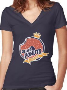 Dilla's Donut Women's Fitted V-Neck T-Shirt