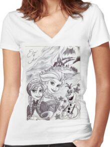 Monochrome Princesses A and E Women's Fitted V-Neck T-Shirt