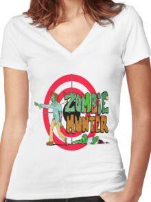 Zombie Hunter Women's Fitted V-Neck T-Shirt