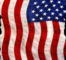 Tattered Patriotic USA Flag by Val  Brackenridge