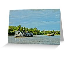 Indonesian traditional boat for sand at Mahakam River Melak West Kutai East Borneo Greeting Card
