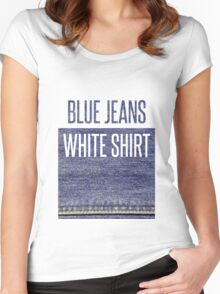 Blue Jeans, White Shirt Women's Fitted Scoop T-Shirt
