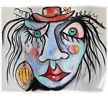 Blue Lady With Green Eyes And Red Hat Poster