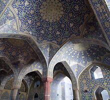 Colonnade of blue domes, Imam Mosque, Esfahan, Iran by Jane McDougall