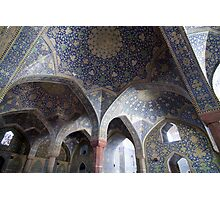 Colonnade of blue domes, Imam Mosque, Esfahan, Iran Photographic Print