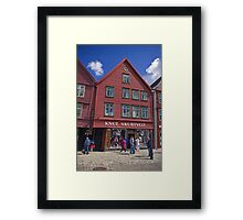Wooden shops of Bergen Framed Print
