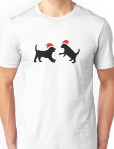 Puppies in Christmas Hats Unisex T-Shirt