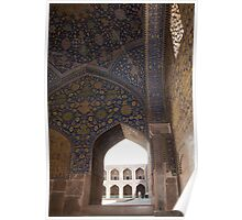 Looking through the arched window, Imam Mosque, Esfahan, Iran Poster