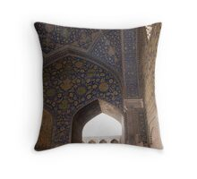 Looking through the arched window, Imam Mosque, Esfahan, Iran Throw Pillow
