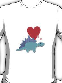 Cute Cartoon Dinosaur Blue Stegosaurus Love Hearts T-Shirt T-Shirt