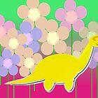 Cute Cartoon Dinosaur Yellow Diploducus Color Flowers by cutecartoondino