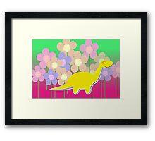 Cute Cartoon Dinosaur Yellow Diploducus Color Flowers Framed Print