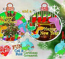 Cute Cartoon Dinosaurs Christmas Cut & Fold Craft Card by cutecartoondino