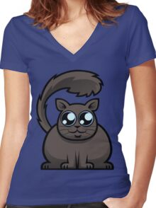 Brown Cat Women's Fitted V-Neck T-Shirt