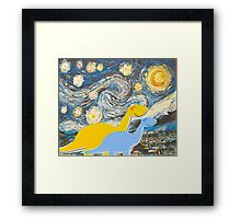 Cute Cartoon Dinosaurs looking at a Starry Night Painting Landscape Framed Print