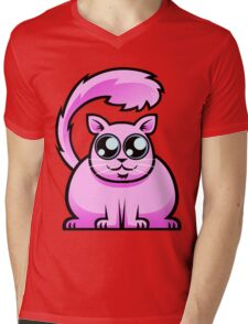 Pink Cat Mens V-Neck T-Shirt