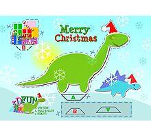 Cute Green Cartoon Dinosaur Christmas Cut & Paste Paper Craft Photographic Print