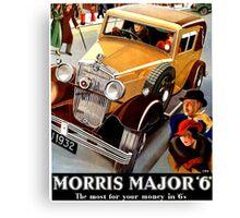 Morris Major 6 British classic car art deco advert Canvas Print