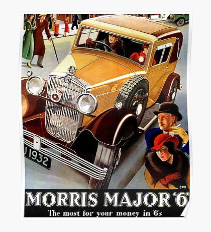 Morris Major 6 British classic car art deco advert Poster