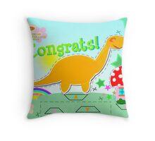 Cute Cartoon Dinosaur Congrats Cut & Paste Craft Throw Pillow