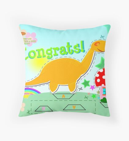 Cute Cartoon Dinosaur Congrats Cut & Paste Craft Throw Pillow