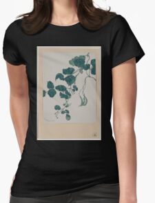 Mame   green bean or pea plant showing vine leaves pods and blossoms 001 Womens Fitted T-Shirt