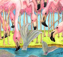 Flamingo Mermaid Surprise Whimsical Cathy Peek Art by Cathy Peek