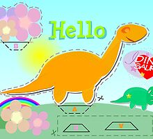 Cute Cartoon Dinosaur Hello Sweet Flowers Cut, Fold & Glue Craft by cutecartoondino