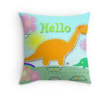 Cute Cartoon Dinosaur Hello Sweet Flowers Cut, Fold & Glue Craft Throw Pillow