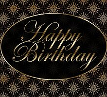 Black and Gold Art Nouveau Birthday  by Lorene  Troyer