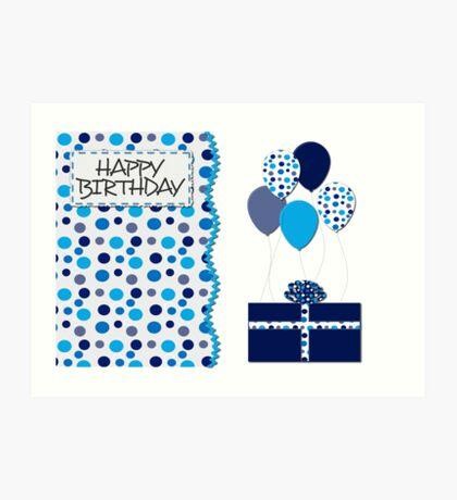 Birthday- Blue Dots, Gift and Balloons  Art Print