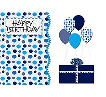 Birthday- Blue Dots, Gift and Balloons  Photographic Print