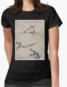 Three birds perched on branches one with blossoms 001 Womens Fitted T-Shirt