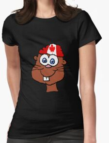 Canada Day Beaver  Womens Fitted T-Shirt
