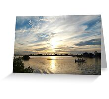 Boating beauty in wide view Greeting Card