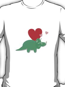 Cute Cartoon Dinosaur Green Triceratops Love Hearts T-Shirt