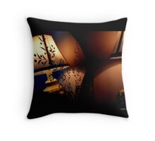 Antique Lamp Reflection In The Mirror Throw Pillow