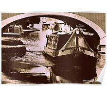 Canal Barge at Leigh, Near Manchester, UK. Poster