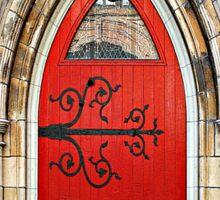Red Door with Hinges Sticker