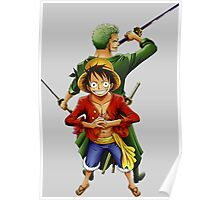 one piece roronoa zoro monkey d luffy anime manga shirt Poster