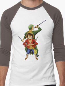 one piece roronoa zoro monkey d luffy anime manga shirt Men's Baseball ¾ T-Shirt
