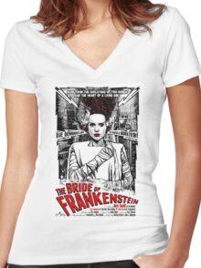 Bride of Frankenstein. Elsa Lanchester. Movie. Horror.  Women's Fitted V-Neck T-Shirt