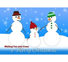 Merry Christmas, Snowman Family  Photographic Print
