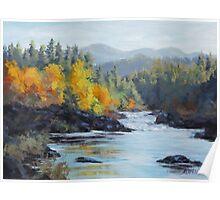 Original Landscape Painting - Autumn Falls Poster