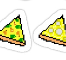 Pixel Pizza Grid Sticker