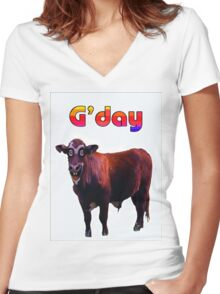 G'DAY Women's Fitted V-Neck T-Shirt